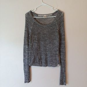 Roxy open knit scoop neck grey sweater size small